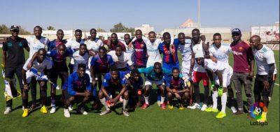 El Clásico between peñas (fan clubs) of Real Madrid and FC Barcelone in Dakar, Senegal